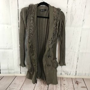 Sweaters - Forla Paris S boho ruffle sweater coat